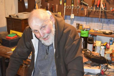 96-year-old Nobel Laureate Arthur Ashkin in his basement lab on December 21, 2018. Ashkin won half of the 2018 Nobel Prize in Physics for his work inventing optical tweezers in the late 1980s.