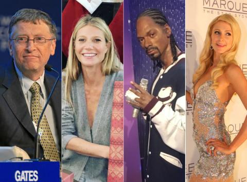 Bill Gates, Gwyneth Paltrow, Snoop Dogg y Paris Hilton