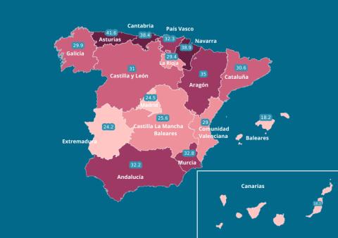 Mapa de la brecha salarial en España