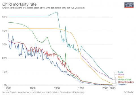 Índice de mortalidad infantil. Se muestra la proporción de niños nacidos vivos que mueren antes de cumplir los cinco años.