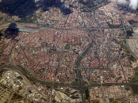 Vista aérea del distrito Puente de Vallecas