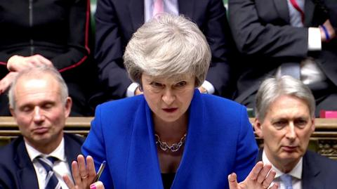 Theresa May, durante el debate previo a la moción de censura