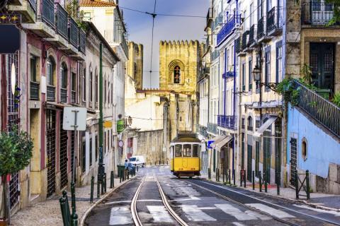 Un tranvía en Lisboa.