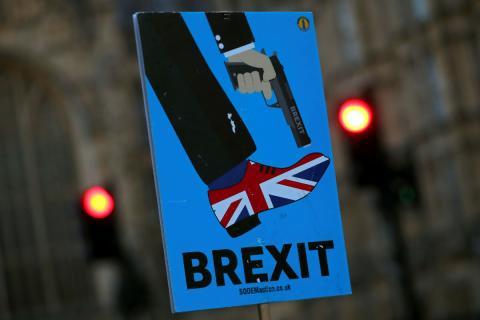 Una pancarta antiBrexit durante una manifestación en Londres.