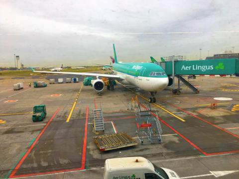 Un Aer Lingus Airbus A330 en el aeropuerto de Dublín.