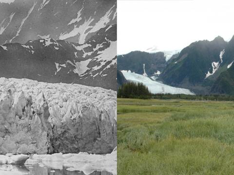 Although many glaciers have shrunk dramatically in the last decade, juxtapositions that show their changes over a longer period of time are even more striking.