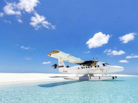 ... and are then flown to the resort, which is about 40 minutes away, by private seaplane.