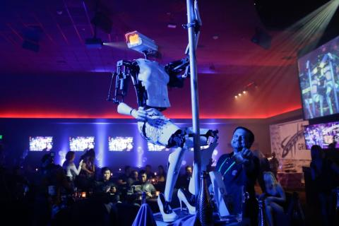 And because who could forget, here's the pole-dancing robot from CES 2018.