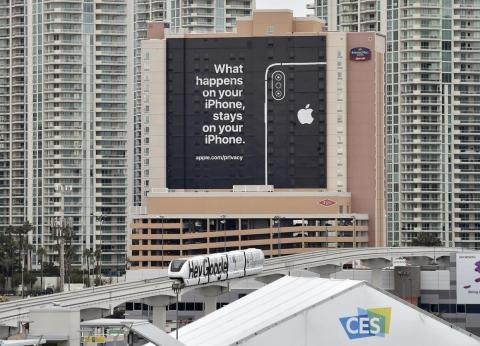 Apple doesn't officially attend CES, but made its presence known at this years event with a massive billboard highlighting the iPhone's privacy features. It was taken as a shot across the bow at Google, which sponsored the