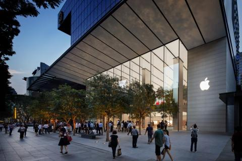 Apple's first store in Southeast Asia opened in Singapore in early 2017. The 120-foot glass facade blurs inside and out, and 16 trees add to the city's already lush greenery.