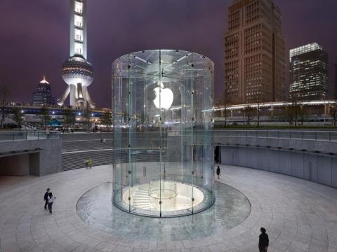 Apple's Shanghai store is one of its most iconic: a glass cylinder leads to the main part of the store, situated underneath the courtyard.