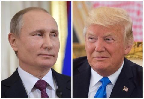FOTO DE ARCHIVO: el presidente ruso Putin en Moscú y el presidente de los Estados Unidos Trump en una ceremonia de recepción en Riyadh.