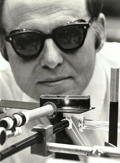 Arthur Ashkin working with a laser at Bell Labs in 1970.