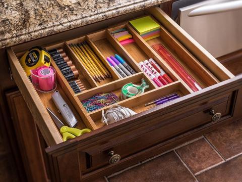 A bamboo drawer organizer