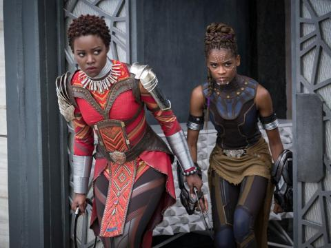 """Lupita Nyong'o and Letitia Wright in """"Black Panther."""""""