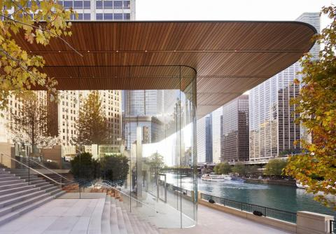 The building's 111-by-98 foot, carbon-fiber roof was designed to be as thin as possible and is supported by four interior pillars that allow for 32-foot glass facades.