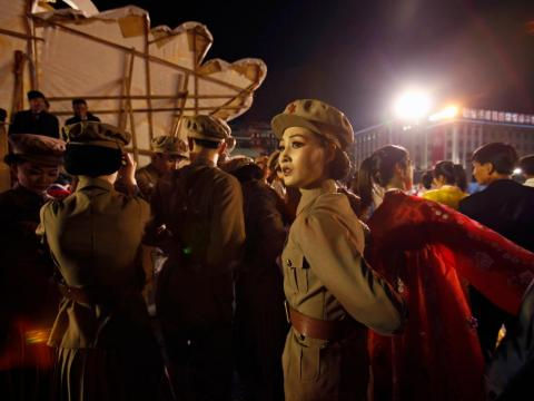 A dancer dressed as a soldier takes part in a gala show in Pyongyang.