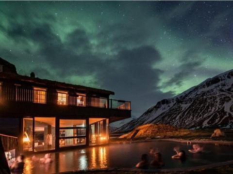 Northern lights-viewing and hot springs tour