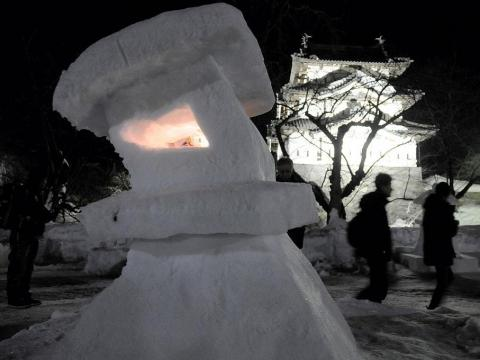 Different local artists build their own rendition of a snow lantern for the festival, which gives all the visitors many different pieces of art to look at.