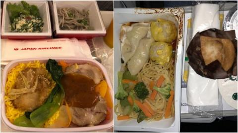 Economy food on one airline — like Japan Airlines, left — can be vastly different in standard compared to another — like American Airlines, right.