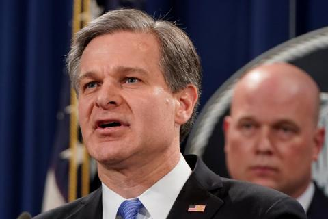 FBI Director Christopher Wray at the press conference.