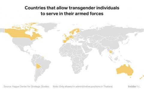 Al hilo de la prohibición de transgénero de entrar en el ejército impuesta por Trump, solo 19 países en el mundo permiten que personas transexuales sirvan en el ejército.