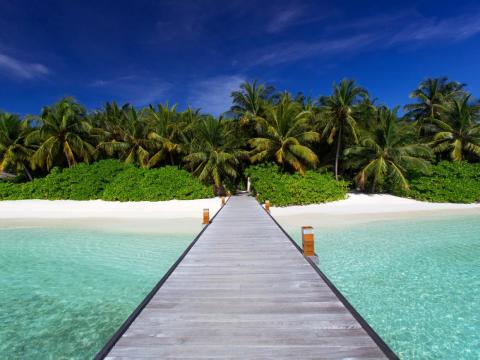 To get there, guests take a 25-minute speedboat ride from the Maldives' international airport.