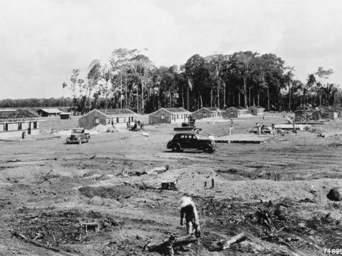 However, land was cleared not just for the rubber plantation, but for a town.