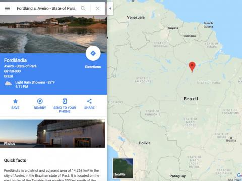 If you've never heard of Fordlandia before, no worries — Google has. The search engine recognizes it easily, tucked away in the Brazilian town of Aveiro.