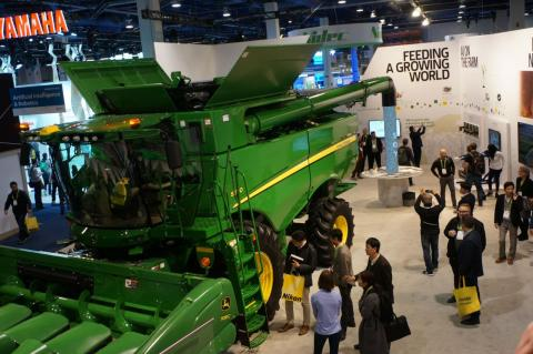 """In John Deere's debut at CES, the company showcased its connected combine harvester that it describes as an """"intelligent factory on wheels."""""""