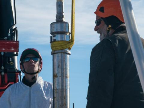 Lead Driller Dennis Duling (right) and PI Brent Christner (left) with the hot water drill moments before it began its 4,000 foot journey downwards to Mercer Subglacial Lake.
