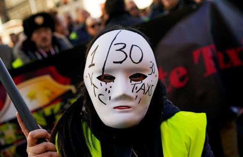 Manifestación del taxi en contra de las VTC