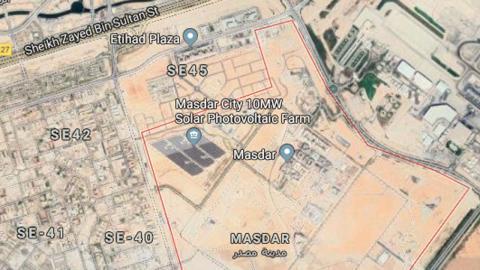 Vista área de Masdar City a través de Google Maps