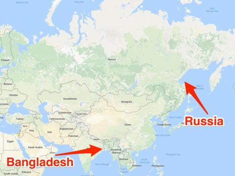 More people live in Bangladesh than in Russia.