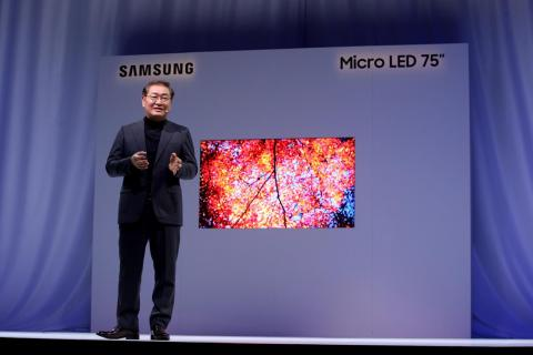 A more reasonable 75-inch model was shown off — a consumer-friendly version of Samsung's new tech: