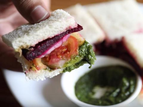 One blogger from Mumbai, Brinda Shah, told INSIDER the best dish to try in her city is called the Mumbai sandwich — which may contain fresh slices of cucumbers, beetroot, tomatoes, and mint chutney. She's lived in Mumbai for 22