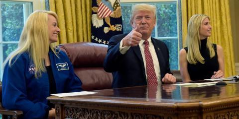 Donald Trump, antes de una conferencia con la ISS