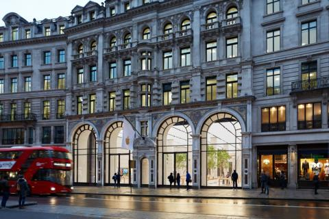 On Regent Street, the most popular shopping street in West London, is one of Apple's largest stores in Europe.
