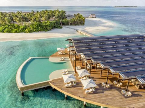 The resort's 984 solar panels (visible in the photo below) enable it to be entirely solar-powered.