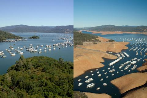 These side-by-side photos show how much California's Lake Oroville shrank in just three years, from July 2011 (left) to August 2014 (right).