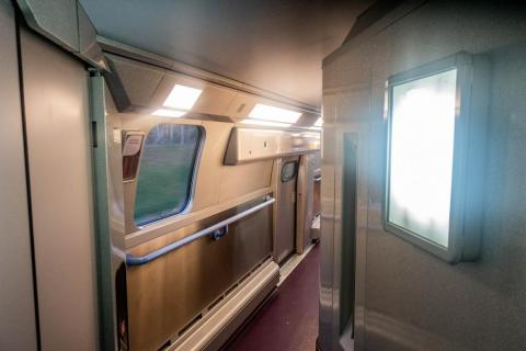 The second-class compartments are closer to the cafeteria car as well.