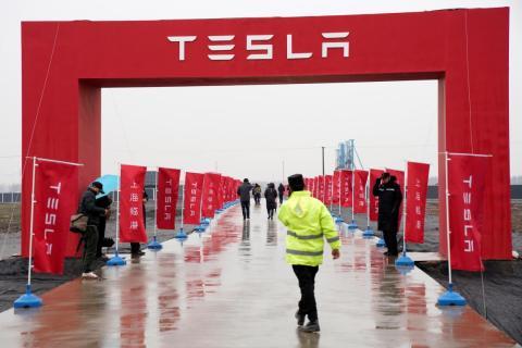 El emplazamiento de la nueva fábrica de Tesla en China.