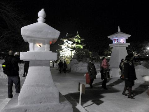 There's even the Hirosaki Castle Yuki-Doro Festival, which brings people to the castle to walk through a display of lights and lanterns made out of snow.