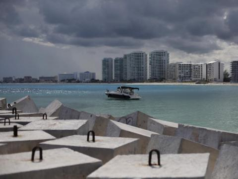 These austere concrete blocks were put on Cancún beaches to serve as protection from hurricanes in 2013.