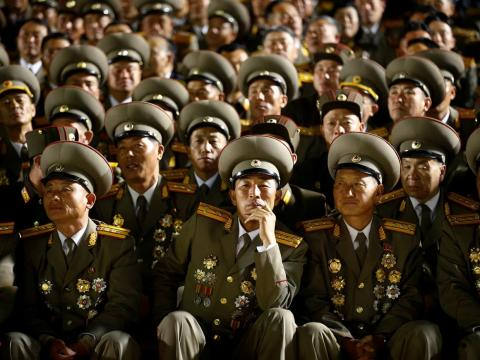 These military officers congregated after the 105th anniversary of the country's founding father Kim Il Sung.