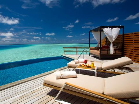 They come with a private pool, a canopied daybed, and sun loungers on the private deck.