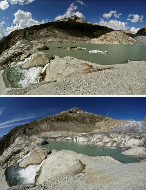 Even in the last decade, the changes have been striking. The top photo shows the Rhone Glacier in Switzerland now, while the bottom shows how much more ice there was in 2009. Glaciologists think that half of Switzerland's small