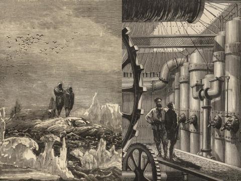 """Ilustraciones para la novela """"Veinte mil leguas de viaje submarino"""" de Julio Verne."""
