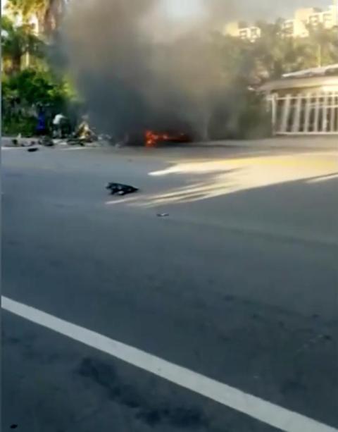 Los videos de los testigos muestran un gran incendio después del accidente