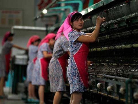 Women also work in the Kim Jong-suk Pyongyang Silk Mill.